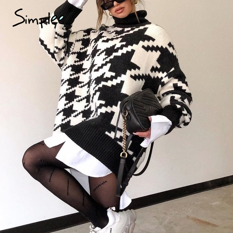 White Sweater Long Pullover Turtleneck Knitted Simplee Houndstooth Warm Black Autumn