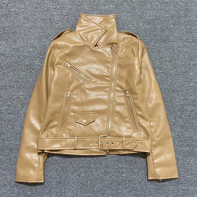 Ha6b855c4ab014006b6c1bc65c873cd8fM Spring Autumn Women Faux Leather Jacket Ladies Solid With Belt Zipper Biker Coat Female Casual Outwear