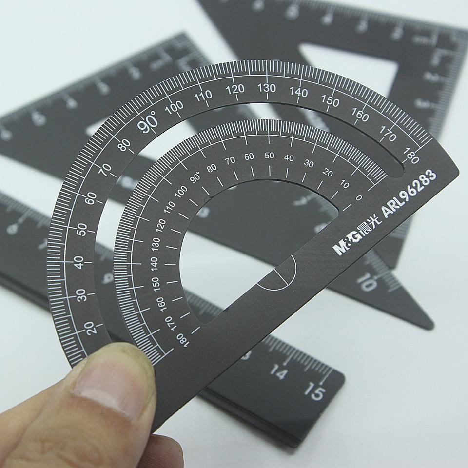 4pcs/set New Aluminum Ruler Aluminum Students Geometry Ruler Stationery Maths School Protractor Supplies Office Metal Set