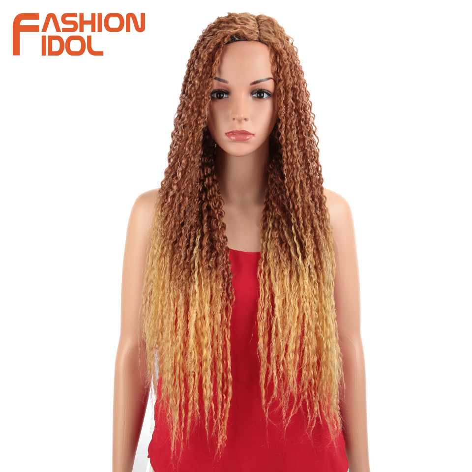 FASHION IDOL Synthetic Wig Lace Front Wigs For Women 24 Inch Long Curly Ombre Blonde Wig With Dark Roots Wavy Heat Resistant