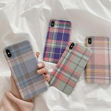 Warm Flannel Plaid Cloth Phone Case for Iphone 11 Pro X Xr Pink Fabric Plush Case for Iphone Xsmax 7 6 8plus Soft Tpu Back Cover-in Fitted Cases from Cellphones & Telecommunications on AliExpress