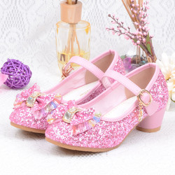 Girls Fashion Princess Shoes Hot Sale Crystal Bowknot High Heel Shoes Children Party Dancing Shoe Baby Girls Bling Leather Shoes