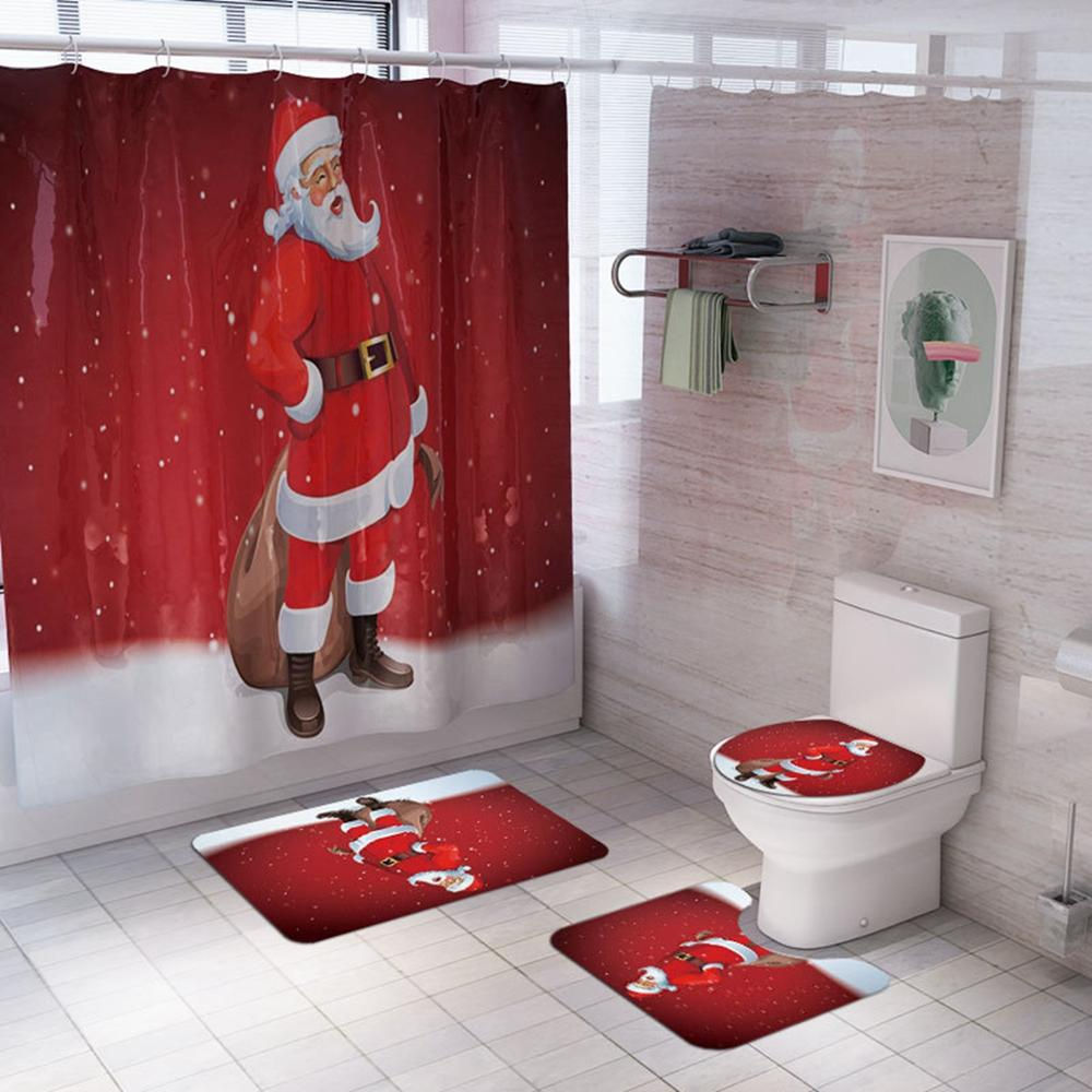 Christmas Curtains For Bathroom Santa Claus Toilet Set Christmas Curtains For Living Room Cartoon Bedroom Curtains Kids Favors