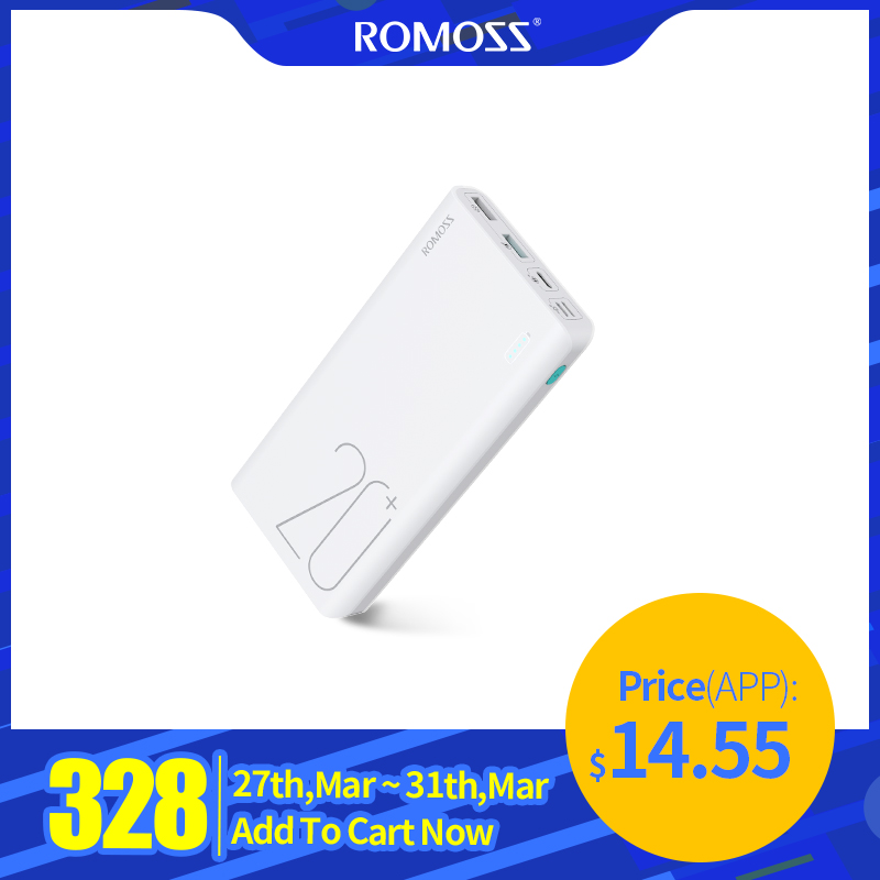 20000mAh ROMOSS Sense 6+ Power Bank With PD3.0 Two-way Fast Charging External Battery Portable Charge For Phones Tablet
