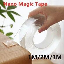 1pc 1m/2m/3m reutilizável impermeável nano fita mágica dupla face fita nenhum traço de fita adesiva limpa do agregado familiar transparente