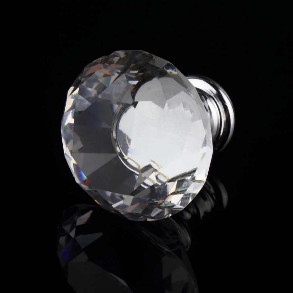 1 piezas 30mm de diamante de cristal de aleación de la puerta del gabinete del cajón del armario manija perillas gota en todo el mundo de la tienda