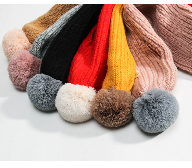 Children's Scarf Winter Warm And Comfortable Solid Color Scarf Boys Girls Universal Raccoon Fur Pom-pom Kids Scarves