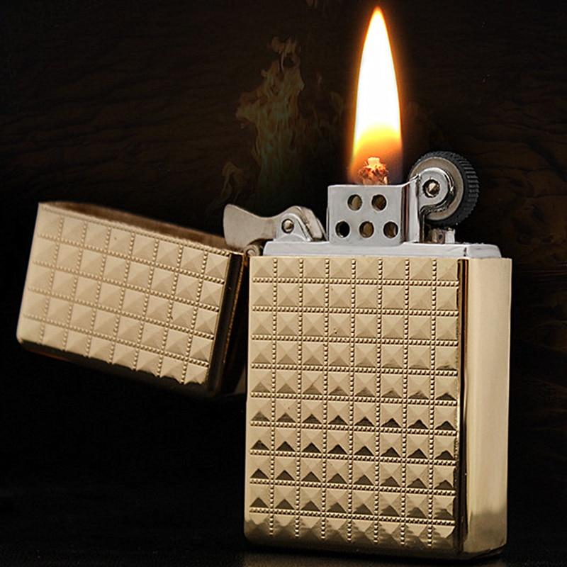 Kerosene Lighter Relief Bronze Dragon Cigarette Lighter Oil Metal Smooth Grinding Wheel Gift For Man Without Fuel OL006