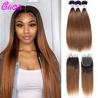 1B 30 ombre hair bundles with closure straight Malaysian human hair weave bundles with closure 4x4 lace dark root remy Clicli
