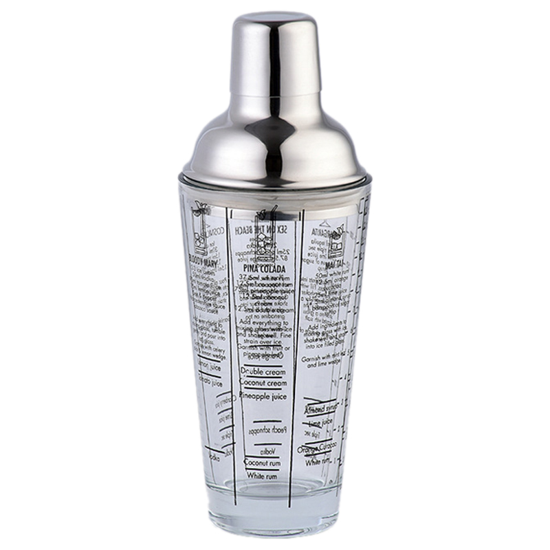 400Ml Bottle Mix Main Glass Transparent Scale Cocktail Shaker 304 Stainless Steel Rod and Glass Vibrator Bar Tool