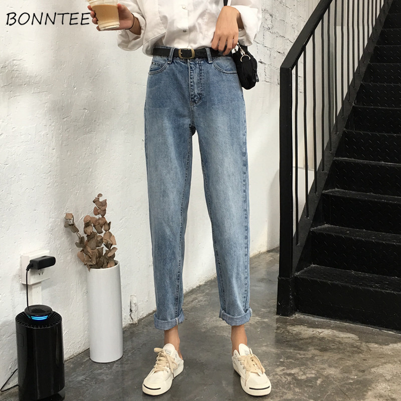 Jeans Women Trendy Elegant All-match High-quality Korean Style Students Leisure Daily Womens Female Lovely Simple 2019 Pockets