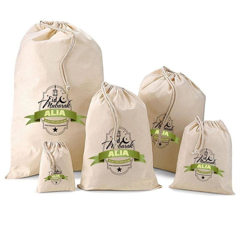 Personalised Eid Gift Bag With Your Text Bachelorette Party Holder Bag Alia Design Sack Baptism Gift Bag Canvas Bithday Gift Bag