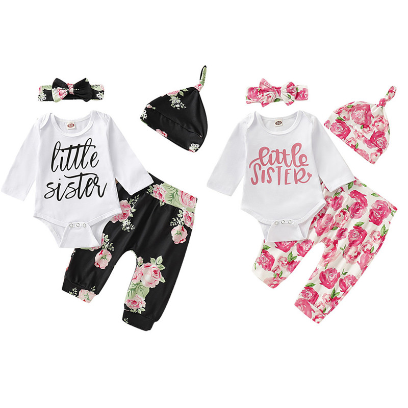 Baby Girls Little Sister Clothes Outfits Romper Tops Pants headband Hat Sets
