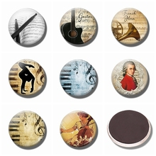 лучшая цена Musical Instrument Art Refrigerator Magnets Music 30 MM Magnet Fridge Glass Guitar Piano Cello Magnetic Stickers for Fridge