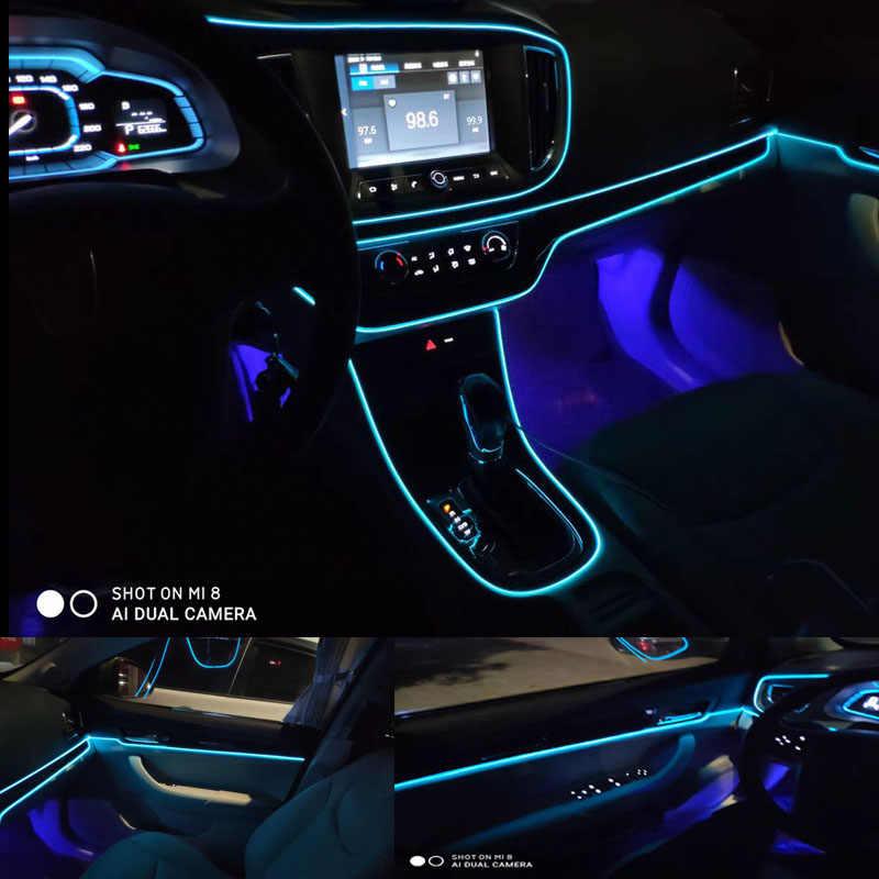 El Kawat 8 Mm Jahit Tepi Neon Lampu Mobil Pesta Dansa Dekorasi Mobil Lampu Fleksibel El Kawat Lampu Tali Tabung LED Strip dengan DC12V Driver
