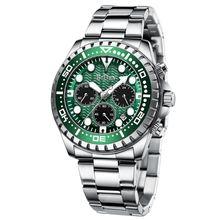 Роскошные Брендовые мужские часы серебристые зеленые с водным