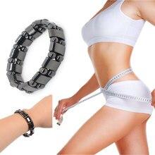 Регулируемый магнитный терапия потеря веса Круглый браслет с черным камнем стимулирующая акупунктурная терапия Сжигание жира тонкий здоровье