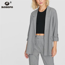 ROHOPO Black Houndstooth Side Pockets Ruched Button Cuff Blazer Notched Collar Ladies Slim Cardigan Outwear #9889 black side pockets sleeveless outerwear