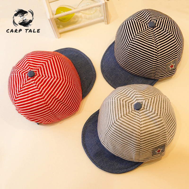 New Stripe 3 Color Selection 2019 Newest Summer Newborn Baby Girl Boy Sun Cap Cotton Beret Hat Striped Adjustable Size kids hat in Hats Caps from Mother Kids