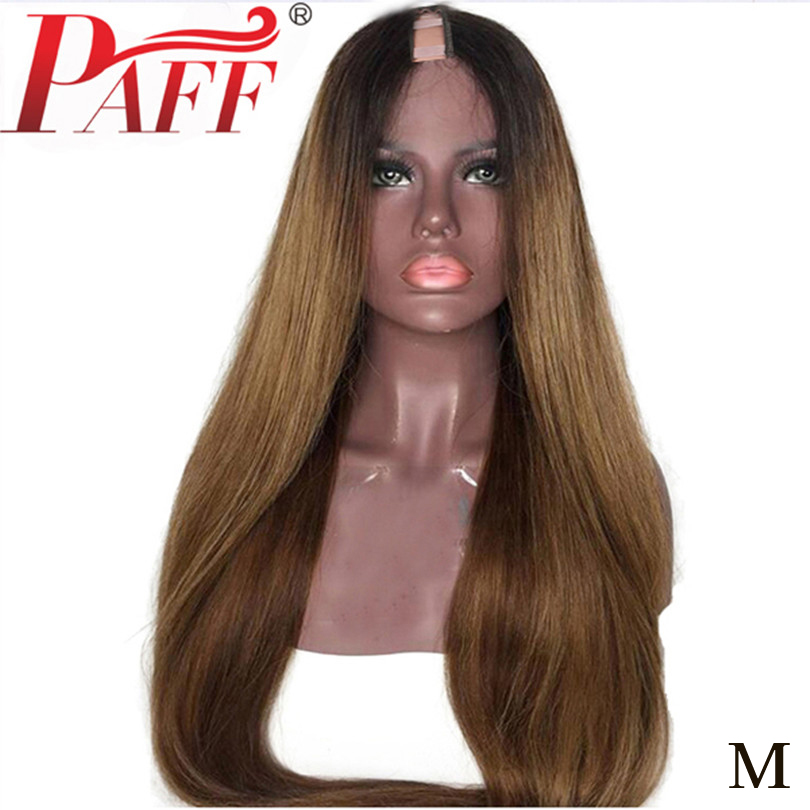 PAFF Brazilian 1B 30 Color Silky Straight U Part Human Hair Wigs  1*3 Ombre Remy Human Hair 180%D U Shape Two Tone Middle Part