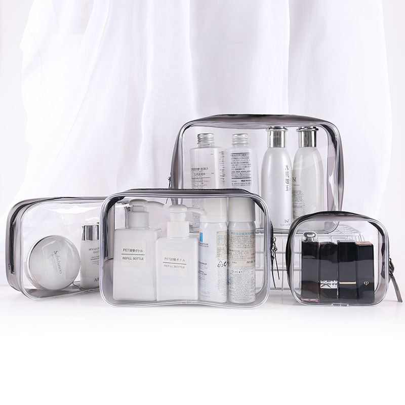 PVC Cosmetic Bag Transparent Waterproof 2019 New Large-capacity Portable Travel Sub-packing Wash Makeup Storage Bags Set Clutch