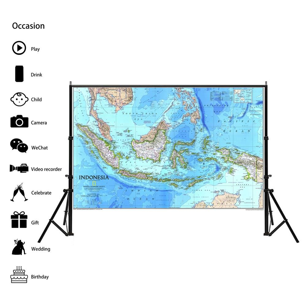 100x150cm Indonesia Physical Map Non-woven Spray Painting 1996 Edition Indonesia HD Map For Living Room Wall Decor