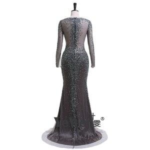 Image 5 - YEWEN argent gris formel robe de soirée 2020 Sexy col en v Noble femmes robes longues seleeves étage longueur fête robes de bal