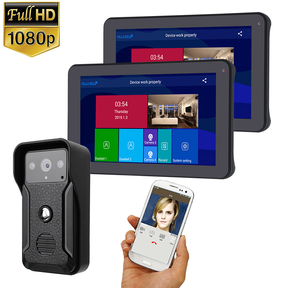 9 Inch  2 Monitor Wifi  Wireless Video Door Phone Doorbell Intercom Entry System With HD 1080P Wired Camera Night Vision