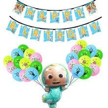 Balões de látex cocomelon melancia jogo suprimentos de festa decoração do chuveiro do bebê animação feliz aniversário banner crianças cocomelon ballons
