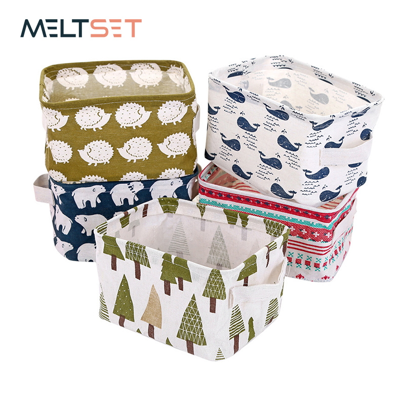 Linen Desktop Storage Box Waterproof Toy Sundries Storage Basket Cosmetic Underware Storage Organizer Office Stationery
