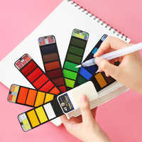 High-quality 18/25/33/42 color Watercolor Paint Set With Water Brush Pen Foldable Travel Water Color Artistic Painting Supplies