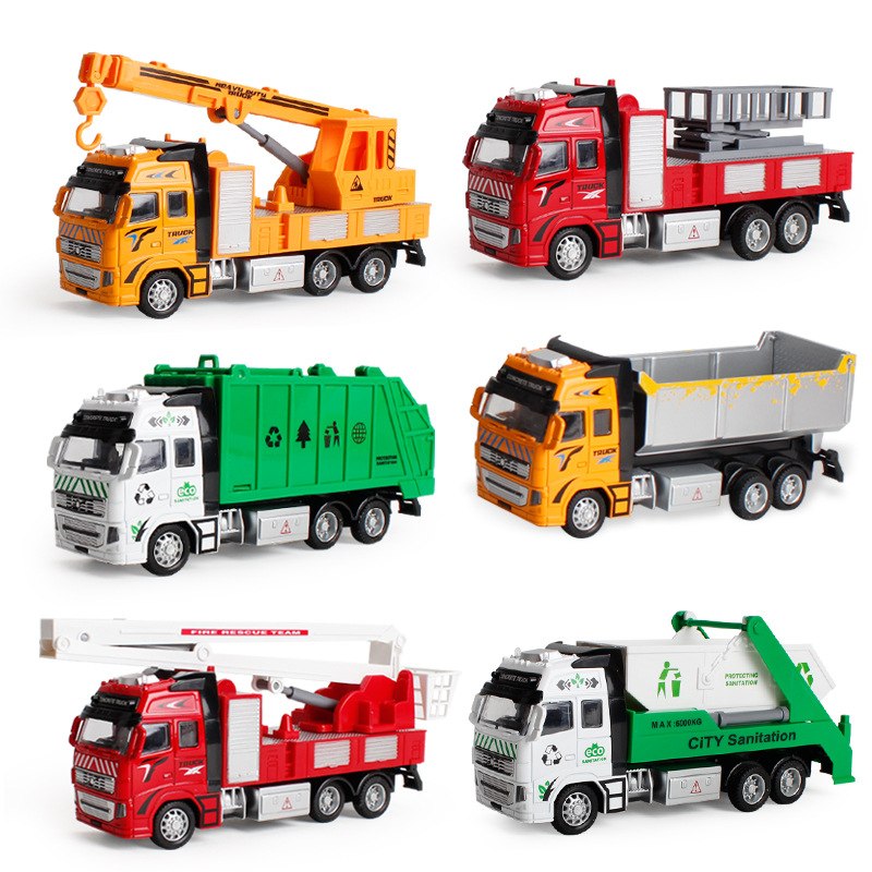 Pull Back Toy Car Sliding Alloy Municipal Engineering Vehicle Model Fire Truck Car Model Excavator Garbage Truck Toy Kids Gifts