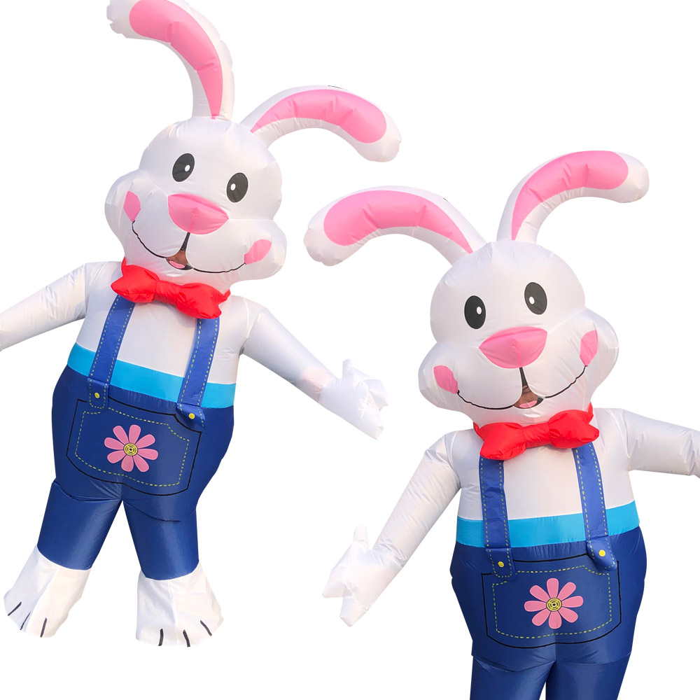 Cute Rabbit Inflatable Costumes For Adult Bunny Halloween Costume Man Woman Cosplay Party Christmas Stage Performance Clothes