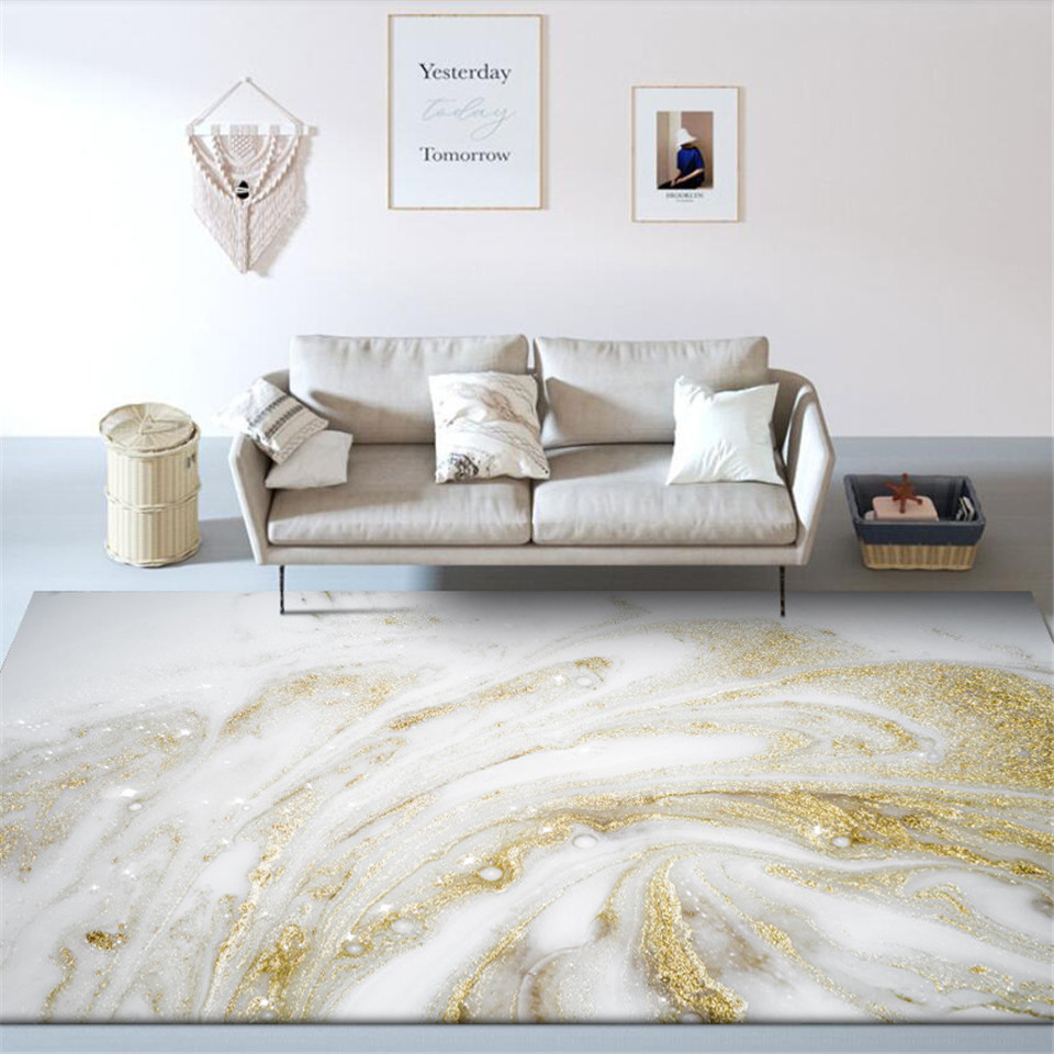 Wishstar Marble Pattern White Gold Carpet Nordic For Bedroom Beside Rug Fashion Geometric Carpet Kitchen Floor Mat Big Rugs