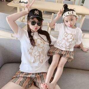 2020 summer trend brand new cartoon bear cotton short sleeve parent-child T-shirt, parent-child T-shirt, children T-shirt