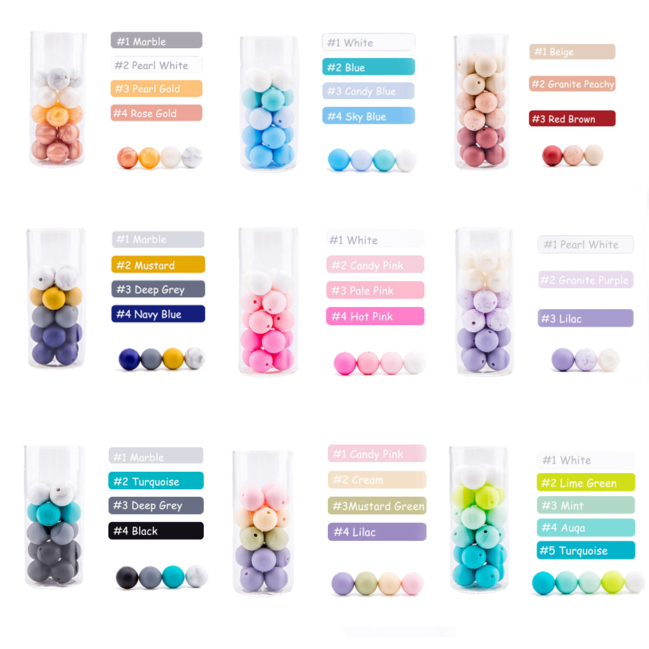 Bopoobo 500pc Silicone Beads 12mm Pearl Silicone Food Grade Baby Teething Beads DIY Nursing Bracelet Pendant Rodent Baby Teether