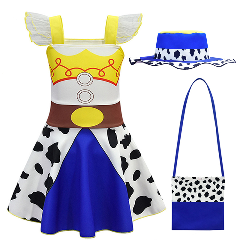 Anime Toy Story 4 Buzz Christmas Dress Girl Fly Sleeve Toddler Elegant Princess Dresses Cosplay Party Halloween Costumes For Kid