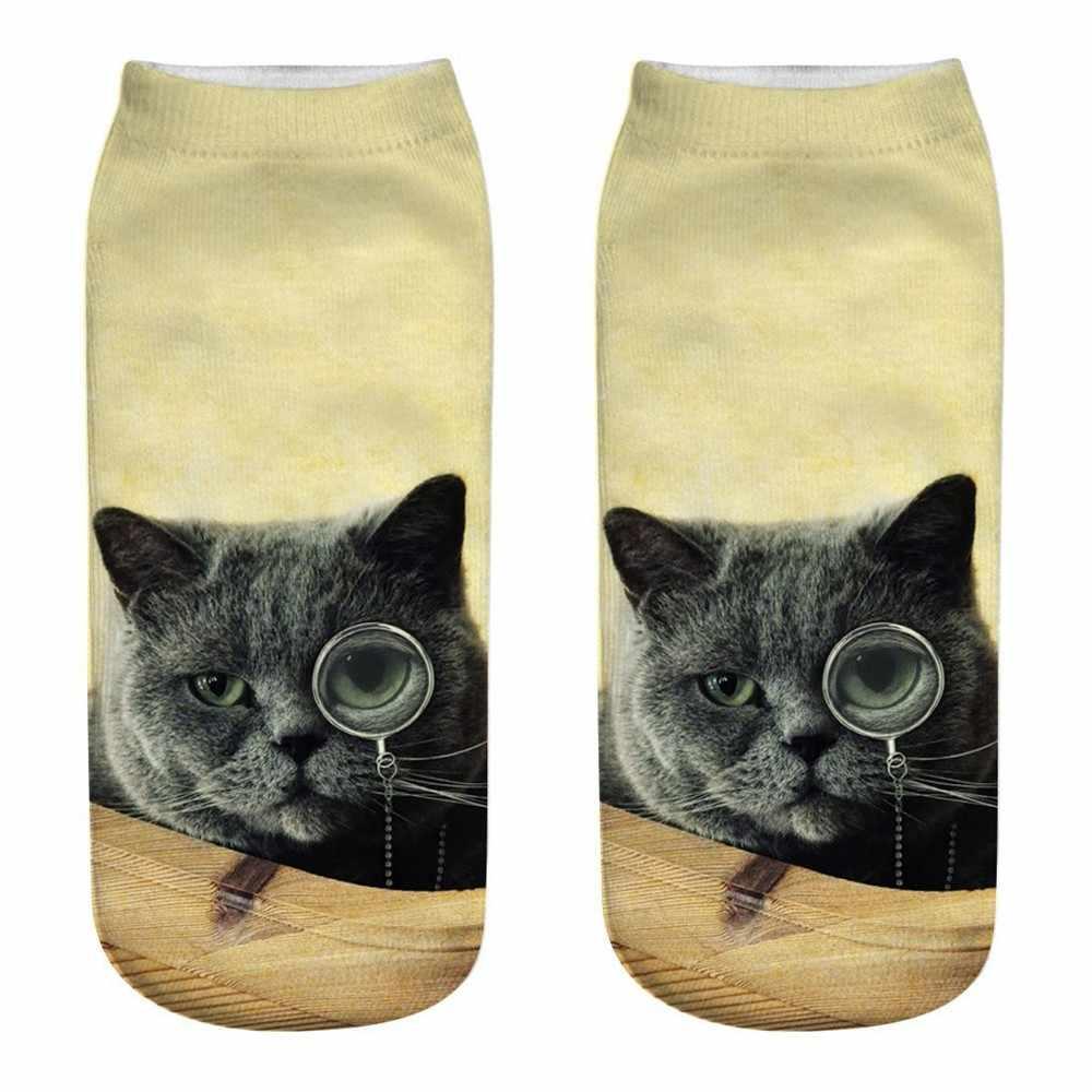 ผู้หญิงผู้ชายตลก 3D แฟชั่นแมวพิมพ์ Casual ถุงเท้าหญิงน่ารักต่ำตัดข้อเท้าลูกเรือตลกถุงเท้า Lady Creative สูงถุงเท้าคุณภาพ