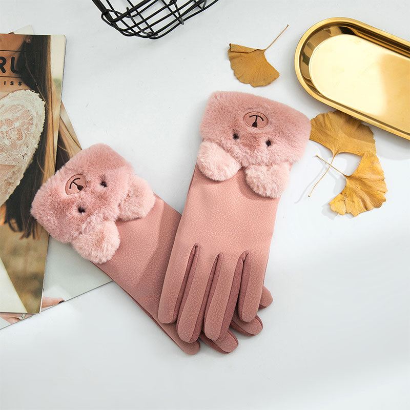 Winter Women Sports Plus Plush Thick Warm Cashmere Cycling Riding Mittens Elastic Suede Leather Touch Screen Driving Glove