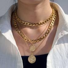 EN Punk – collier avec pendentif de Portrait EN or pour femmes, chaîne cubaine multicouche épaisse, ras du cou, bijoux gothiques