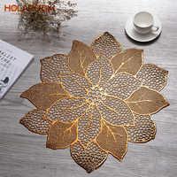 Holaroom, mantel hueco de PVC con flor de loto, cojín occidental de comida, mesa, alfombra decorativa para restaurante, cocina, almohadilla antideslizante