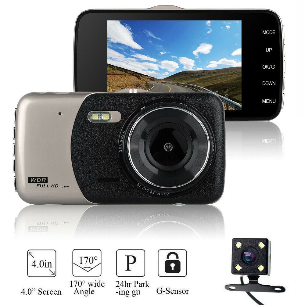 Car DVR LDWS 4.0 HD IPS Display Screen Dual Lens Car Dash Cam Front And Rear Rear