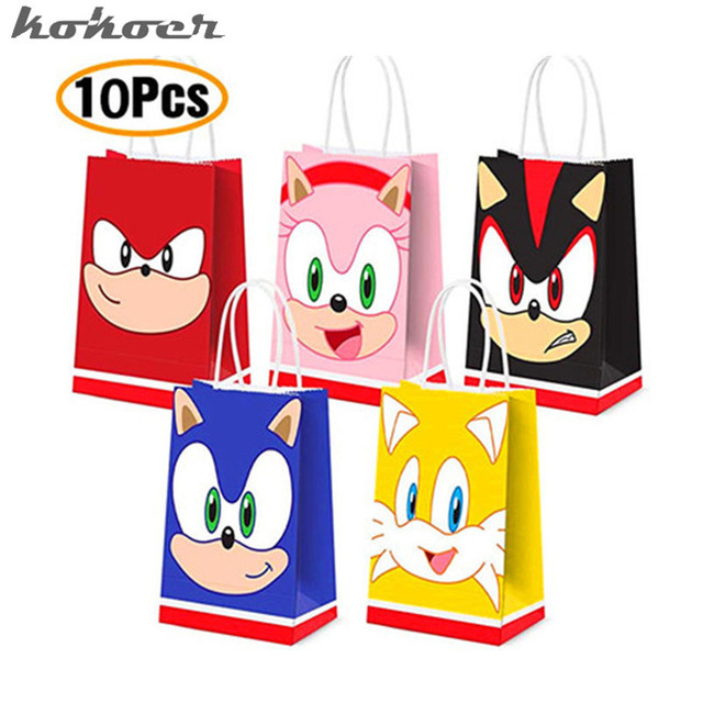 10Pcs/lot Sonic kid Multifuntion Paper Bag 21*15*8cm The Sonic gift bags Festival Happy Birthday Party Supplies kids gifts