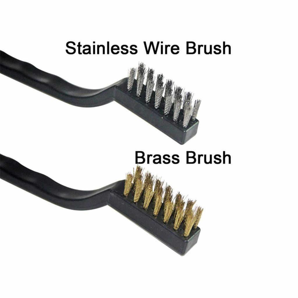 3pcs Mini Stainless Steel Brass Nylon Wire Brush Set Cleaning Polish Tool XS
