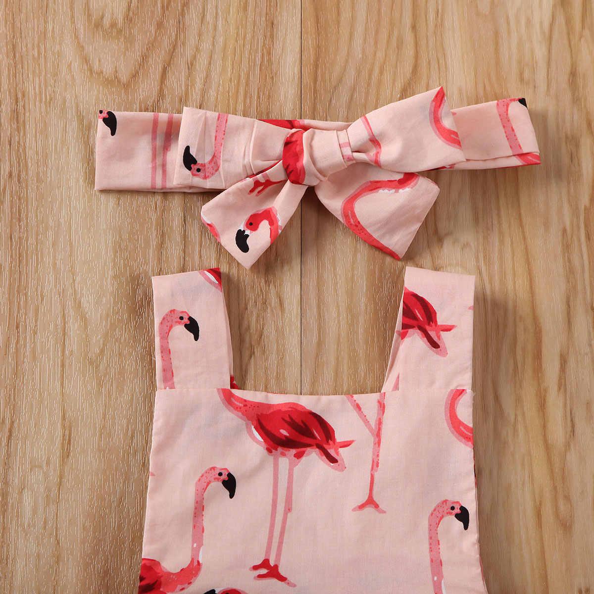 2PCS Newborn Baby Girl Clothes Print Cotton Jumpsuit Bodysuit Outfit Ruffled Flamingo Sunsuit