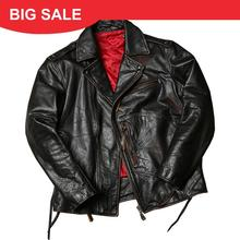 2020 Retro American Style Biker's Leather Jacket Large Size 6XL Genuine Thick Cowhide Winter Slim Fit Motorcycle Leather Coat