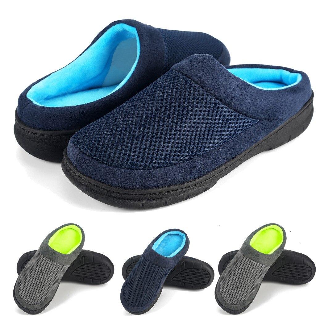 Fashion Winter Warm Slipper Shoes For Men New Arrival Platform Warm Floor Home Net Upper Shoes Slippers Non-Slip Slipper Men
