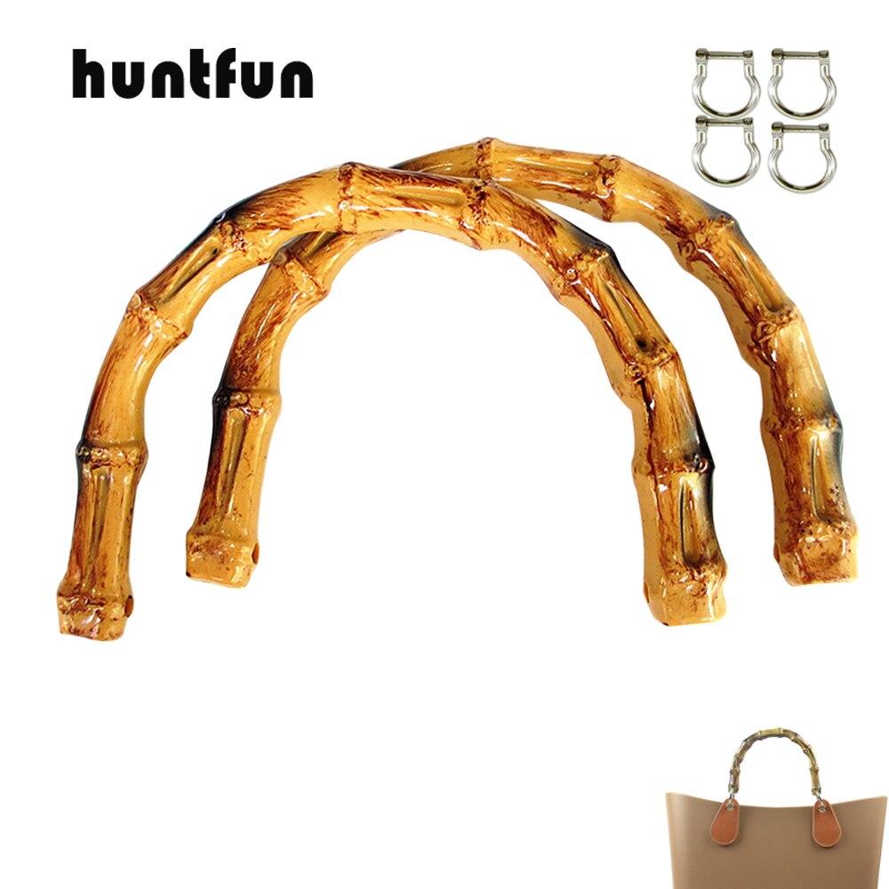 NEW 1 Pair Faux Bamboo Shape Handles With Buckle D For Mini O Bag Pocket Women Handbag Bamboo Shape Handle For OBag Basket Moon