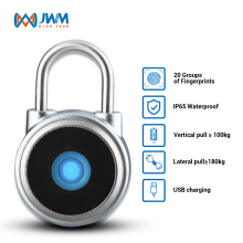 JWM Security Keyless Rechargeable Thumbprint IP65 Anti-theft Fingerprint Padlock Lock for Suitcase, Backpack,Gym,School Locker
