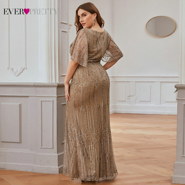 Plus Size Sparkle Prom Dresses Ever Pretty EP00838 Seuqined Ruffles Sleeve V-Neck Elegant Mermaid Pary Gowns Vestidos De Gala 2